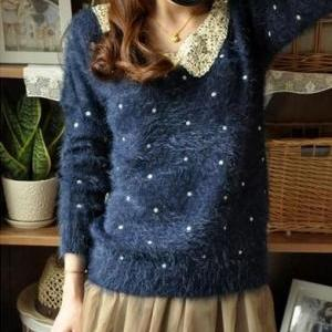 Vitage Sparkly Sweater Jumpers Doll Lady Loose Warm Sweaters Blue ...