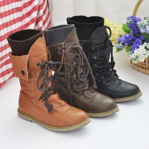 Retro lace boots for women