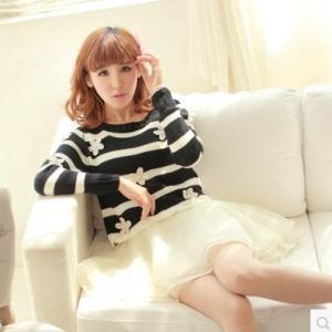 088ebcad4b8 Japanese Kawaii Stripe Flowers Twinset Sweater Dress on Luulla