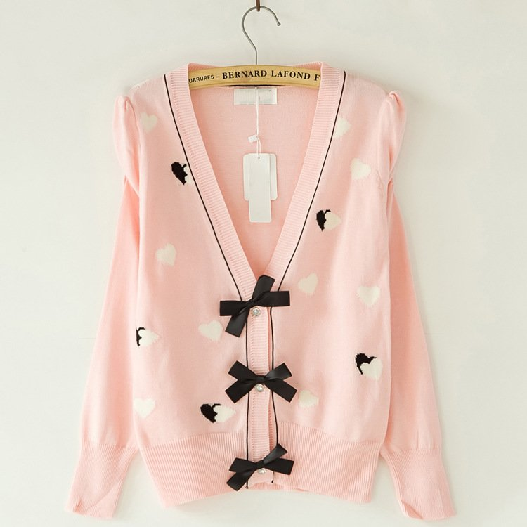 Women Sweaters Clothes,New Fall Pink Bow Cardigan Sweater on Luulla