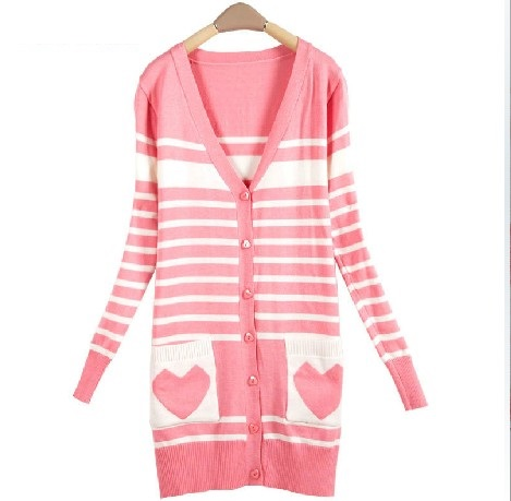 Light Pink Cardigan Sweater,New Fall 2014 Long Heart Cardigan ...