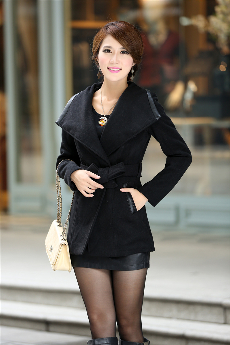 de142d1d12d72 Fashion Trench Coat,Women Clothing Bow Belt Lapel Jacket,black Coat ...