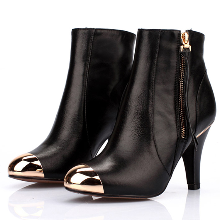 steel toe bootszipper leather metal head sexy bootsblack boots
