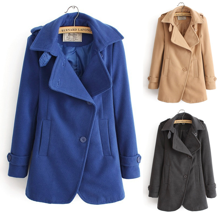 Ladies Clotheing Large Lapel College Wind Womens Coats,Khaki ...