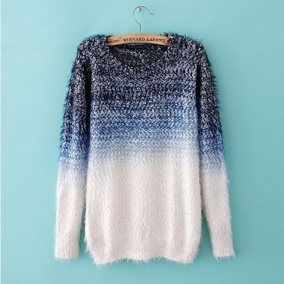 Cool Womens Sweaters Jumpers Feather Yarn Wool Ombre Fashion ...