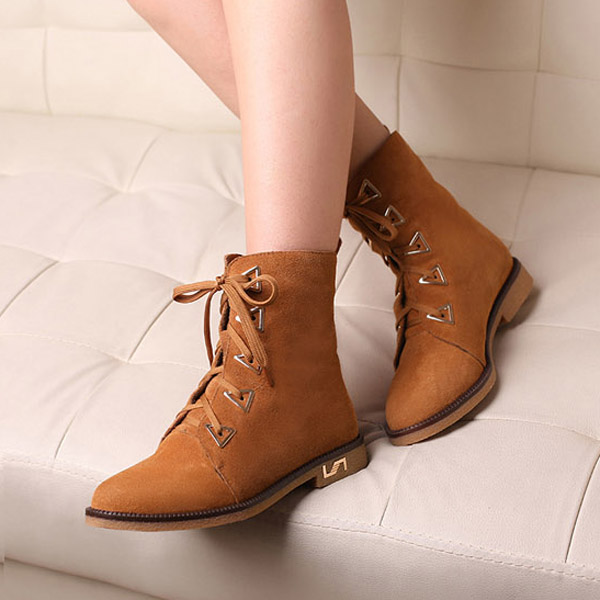 Biker Boots,Metal Decorative Lace Winter Boots For Women
