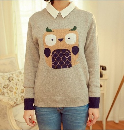 Top Sweater Jumpers Cute Cartoon Owl Lady Loose Warm Sweaters High ...