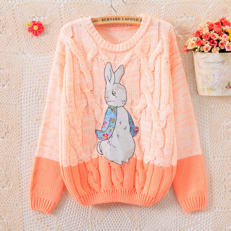 Cute bunny patch mixed colors Women's Sweater