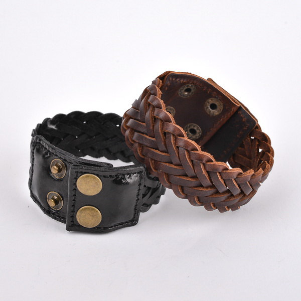 Men S Woven Leather Bracelets Jewelry Knitting Bracelet Wide Cuff Mens Bangle Wristband