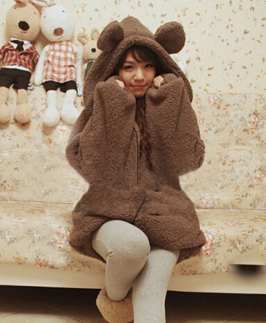 Japanese Cute Bear Ear Fluffy Long Fleece Jacket on Luulla