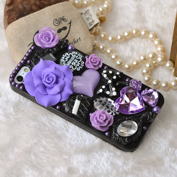 finest selection a776f ae2fb Unique Otterbox Iphone 5s Cases, Cute Purple Orange Black Rose Flowers  Bling Iphone 5 Cases Cover Accessories Handmade Case Mate Apple Gifts